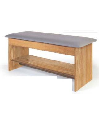 "Hausmann Table Gray W/ Shelf Blue UPH 72""X27"" S-101"