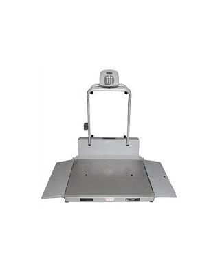 HealthOmeter Portable/folding digital wheelchair scale w/ handrails - lb/kg - 2 RAMPS
